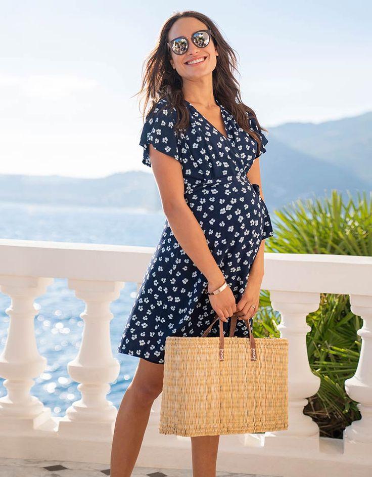 Navy Floral Wrap Maternity Dress
