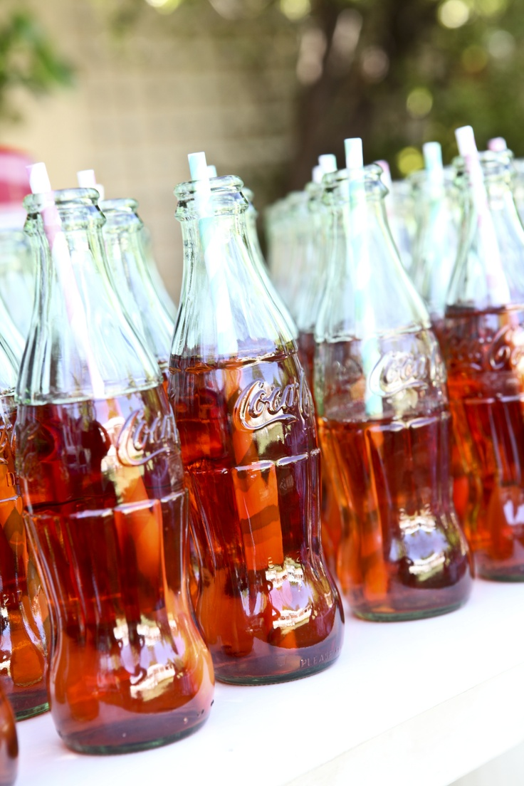 Bottled refreshments with straws