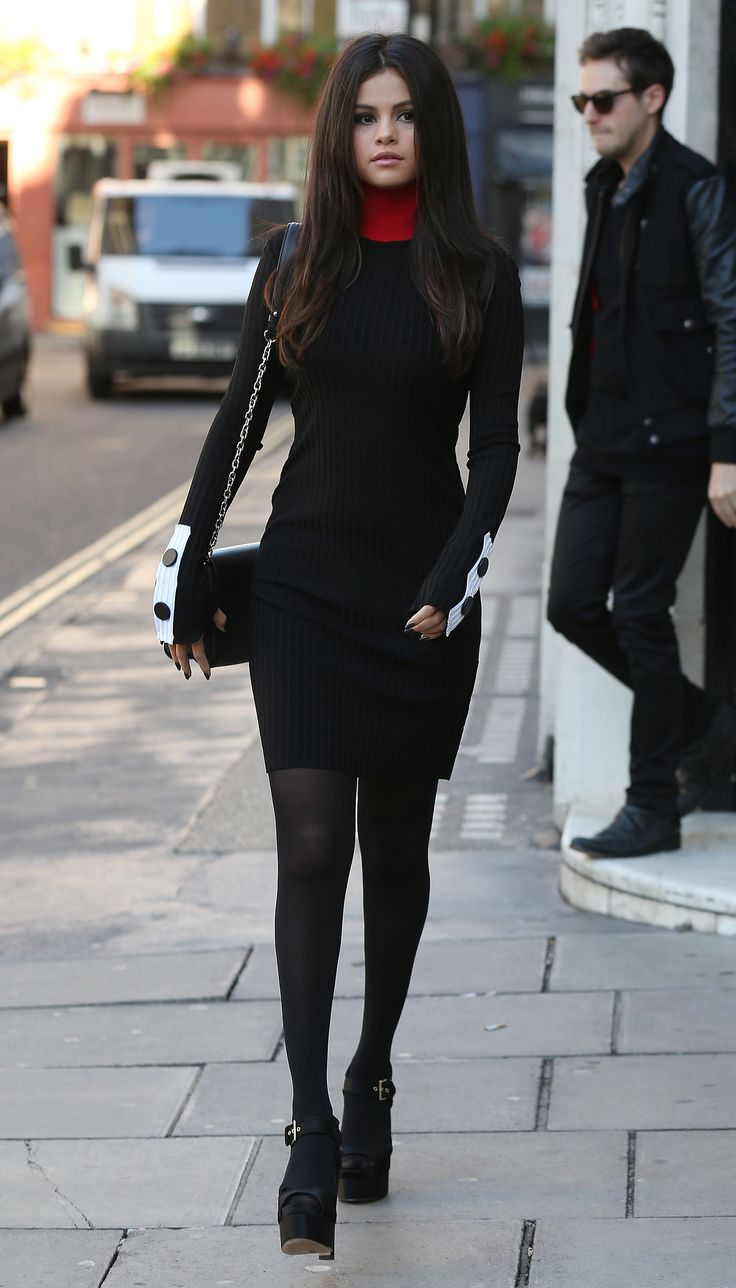 Selena's ribbed Edun turtleneck dress was a little bit quirky, but totally sexy, showing off the singer's c...