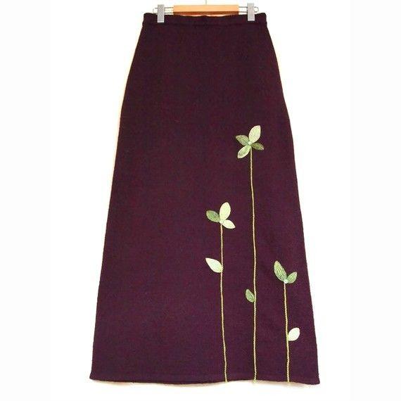 Tendrils Pale Green on Burgundy Long Skirt Medium by elsierose, $52.00