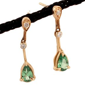 Shop 14KY .60ctw Tsavorite Pear Diamond Drop Dangle Earrings and other jewelry, art, coins, rugs and real estate at www.aantv.com