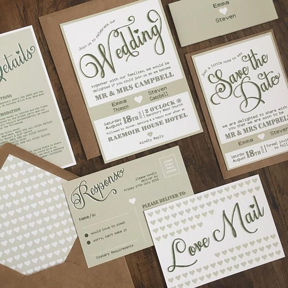 Rustic Wedding Invitation Stationery Suite with RSVP & Belly