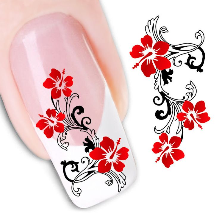 Water Transfer Nail Art Stickers Decal Beauty Cute Sexy Red Flowers Angel Design DIY French Manicure