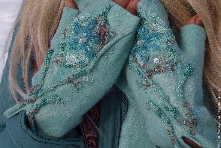 Купить Комлект валяный шапочка митенки Царевна-Лебедь - мятный, цветочный, шапочка, шляпка валяная