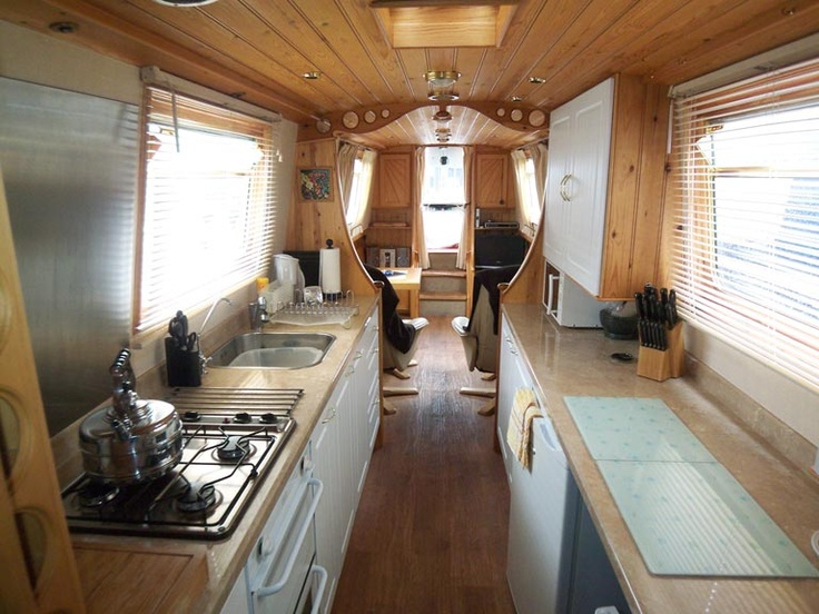 Narrow boat interior home interior pinterest for Boat kitchen cabinets