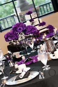 purple and black wedding flower decorations