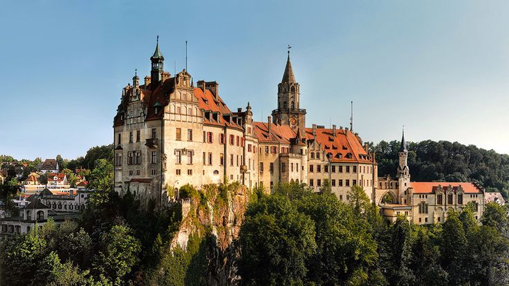 Sigmaringen Castle ~ Baden-Württemberg ~ Germany ~ It was the princely castle and seat of government for the Princes of Hohenzollern-Sigmaringen.  Situated in the Swabian Alb region of Baden-Württemberg, Germany, this castle dominates the skyline of the town of Sigmaringen.