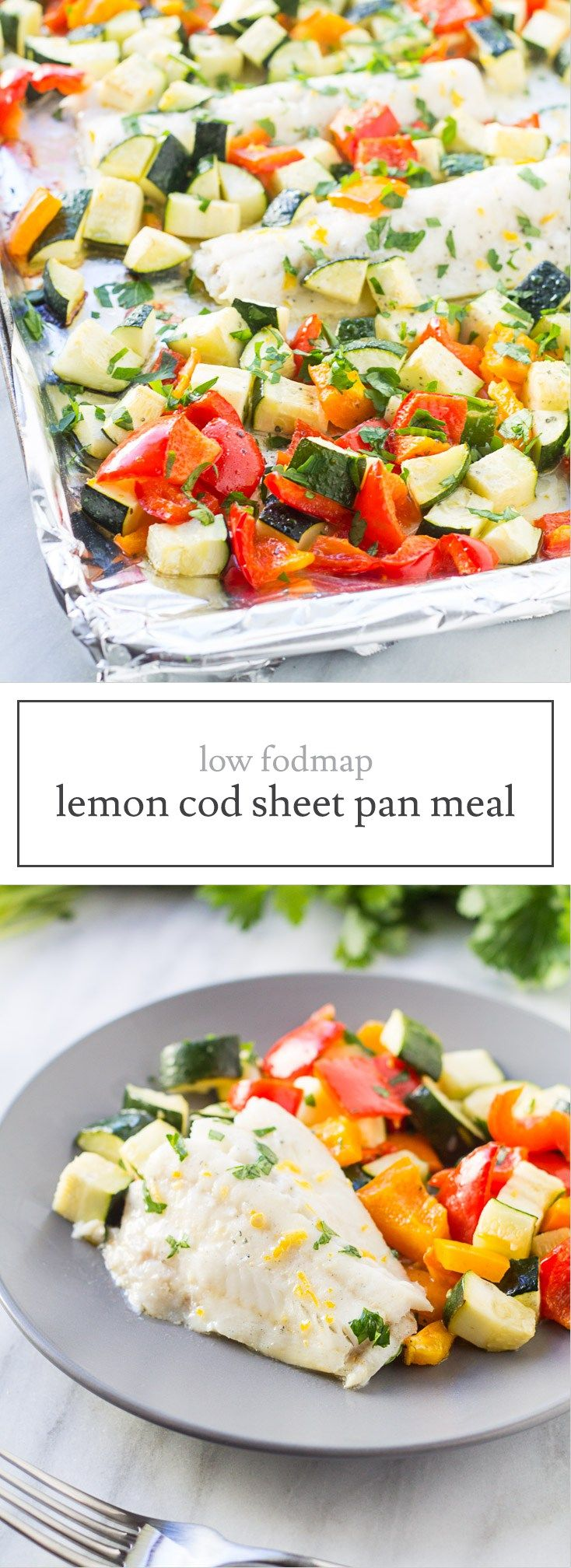 This Whole30-compliant Low Fodmap Baked Lemon Cod Sheet Pan Meal recipe is filled with roasted Mediterranean veggies and fresh lemon. Low FODMAP recipe