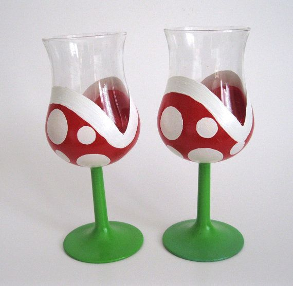 Piranha Plant Wine Glasses,  Hand Painted.