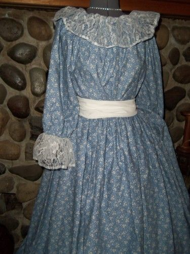 Womens Prairie Pioneer Civil War Colonial Lace Dress Bonnet Print Skirt Blouse | thesewingcottage - Clothing on ArtFire
