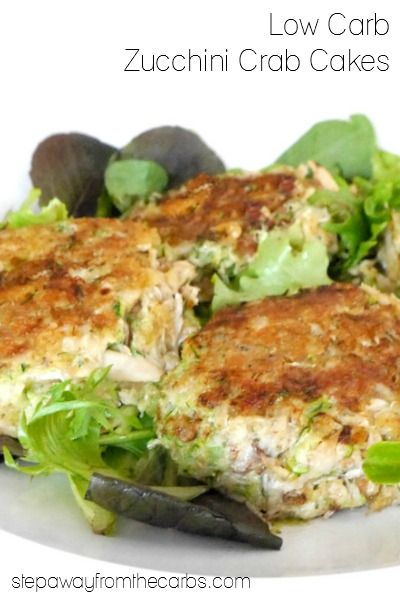 These zucchini crab cakes are low carb and are perfect for serving as an appetizer for four or a lunch for two!