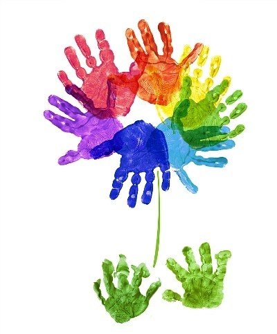 would love to do this with each child's handprint and make a group of flowers to put up in the class. Maybe other handprints could be grass too?