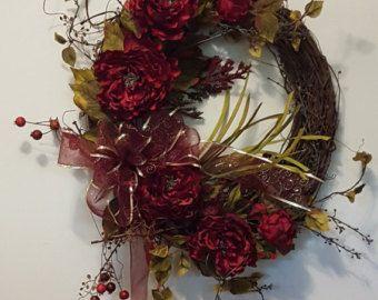 Burgundy Lily Centerpiece/Burgundy Moss Burlap by CKDazzlingDesign