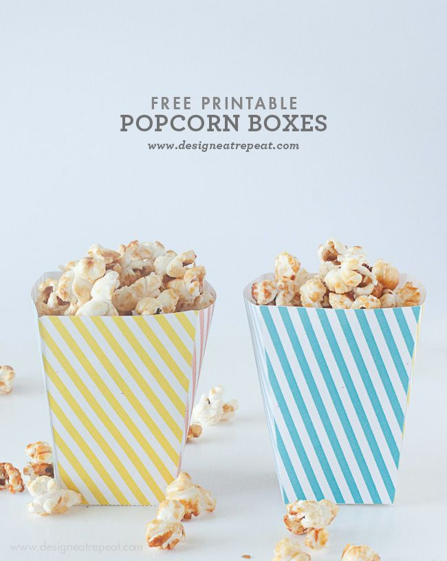 Free Printable Popcorn Boxes by Design Eat Repeat