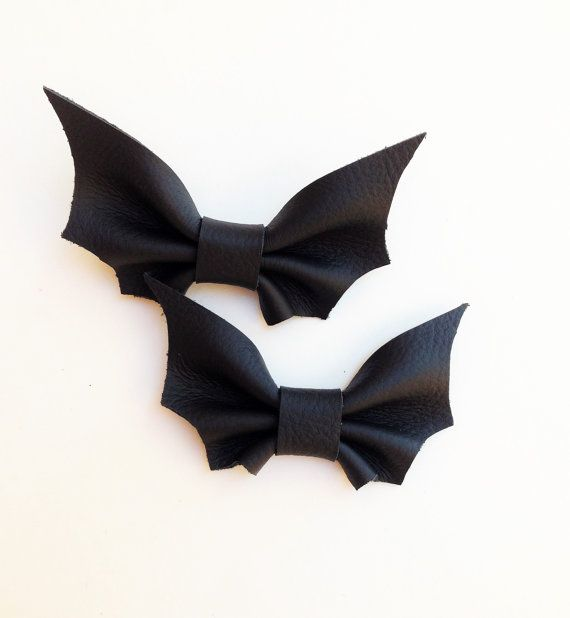 Black Leather Bat Bow Tie Batman Halloween Boys by MiaHeartmade