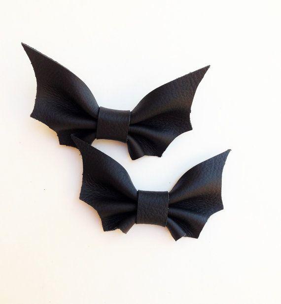 Black Leather Bat Bow Tie Batman Halloween Boys by MiaHeartmade