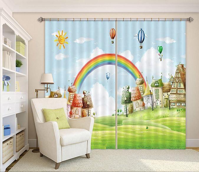 3D Cartoon Love 0 Blockout Photo Curtain Printing Curtain Drape Fabric Window CA
