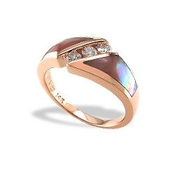 Rose Gold Ring with Pink Mother of Pearl Inlay and Diamonds - Pink Mother of Pearl Inlay - Kabana Jewelry - Designer Collections - Collections