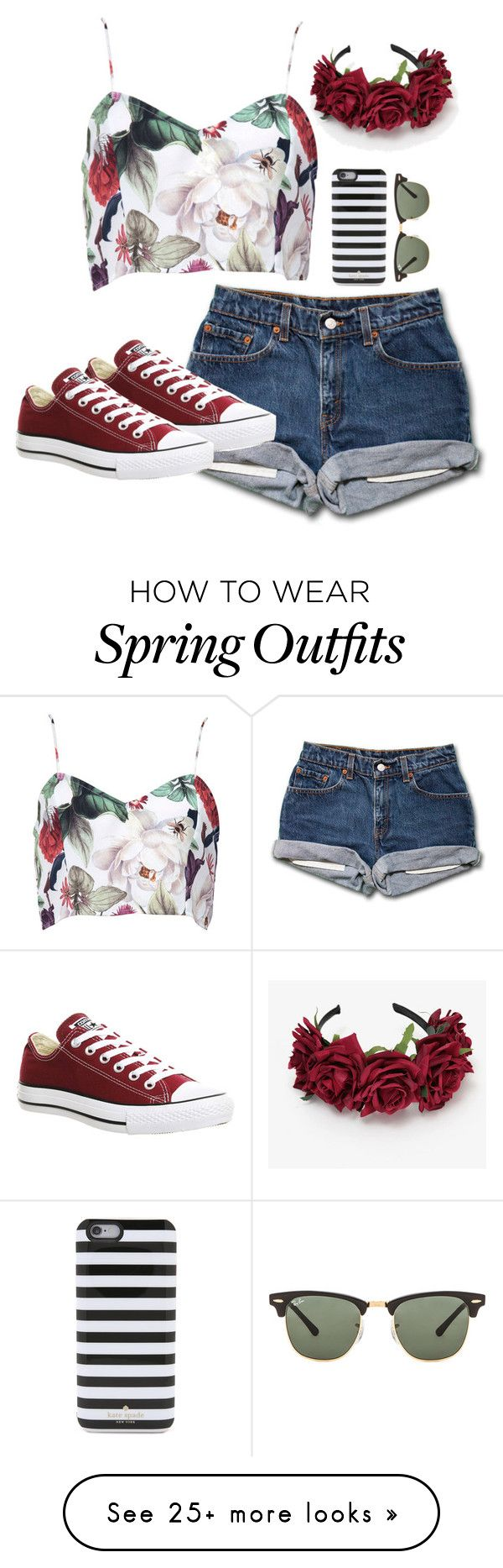 """Spring outfit"" by marlee0654 on Polyvore featuring Converse, Kate Spade and Ray-Ban"