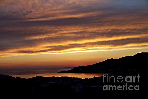 Silhouette Sunset Landscape on the Island of Syros