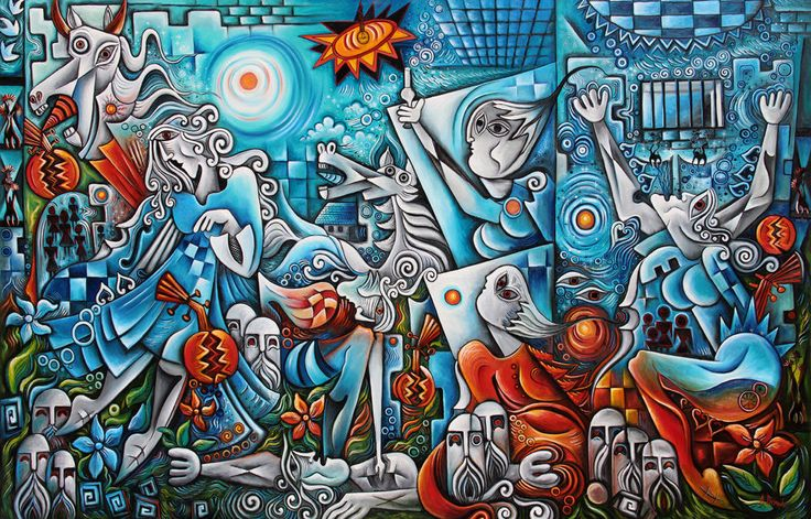 Another blue Guernica- Cubist oil painting by Adrian Doni.!! #Cubism
