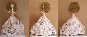 """: 14"""" высокая ракушка скульптура - белые морские водоросли волосы - блондинка"""
