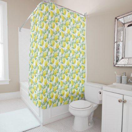 Fresh Yellow Lemons Leaves Flowers Shower Curtain - shower curtains home decor custom idea personalize bathroom