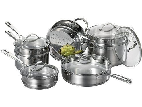 Cat Cora Tri-Ply Stainless Steel Stackable Cookware 12-pc. Set.