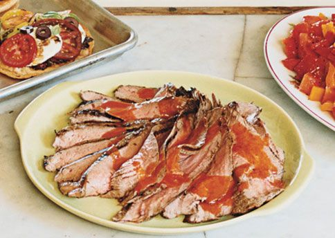 Grilled Flank Steak with Spicy Pepper and Watermelon Salad | Recipe