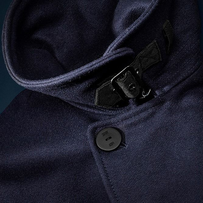 Autumn/Winter '15 #DEEPBLUE collection preview: heavy melton fabric pea coat with collar closure.