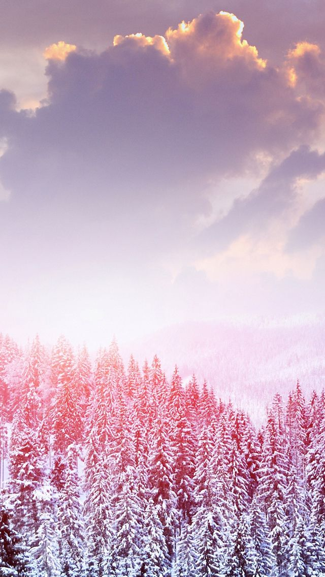 Landscape Winter Snow Trees Mountains Forest Sky Clouds  #iPhone #5s #Wallpaper