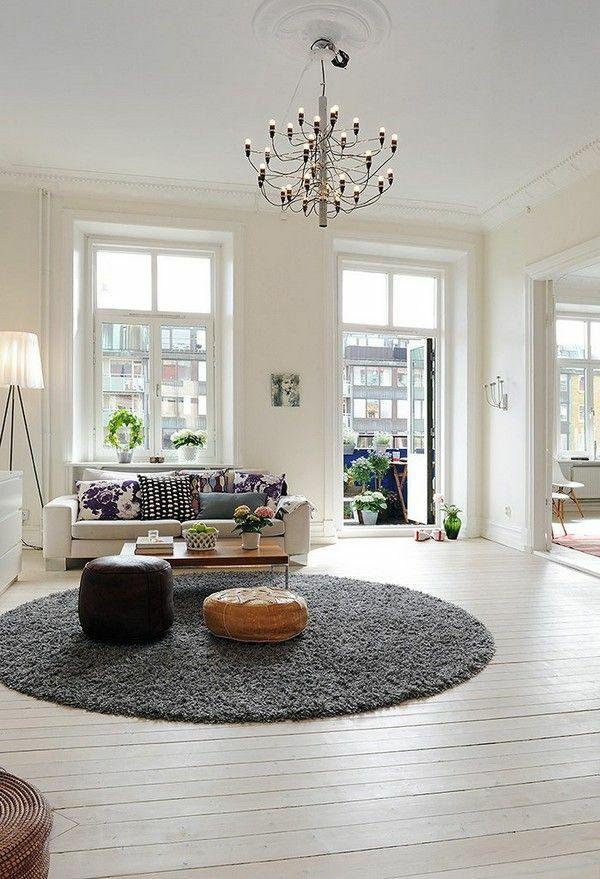 Wohnzimmergestaltung Ideen Bilder Design Rund Teppich Lufer