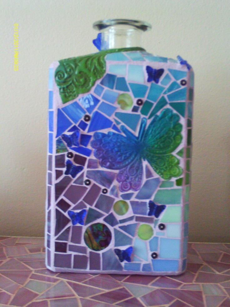 butterfly mosaic bottle by Debbi Haas 103