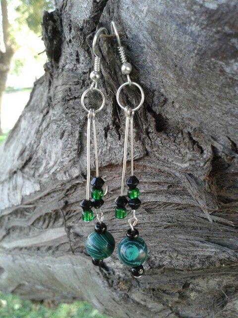 Aros de piedra Jade con mostacilla