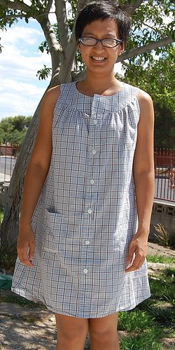 Refashion 23: Vogue 8585 Dress from Men's Dress Shirt | Flickr - Photo Sharing!