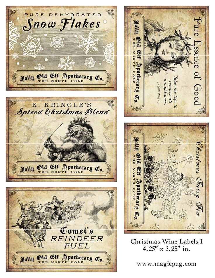 This is an image of Tactueux Vintage Christmas Labels to Print