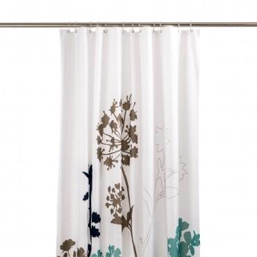 Duschvorhang Blumen, weiss