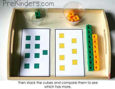 Here's a set of cards for comparing numbers of Unifix cubes.