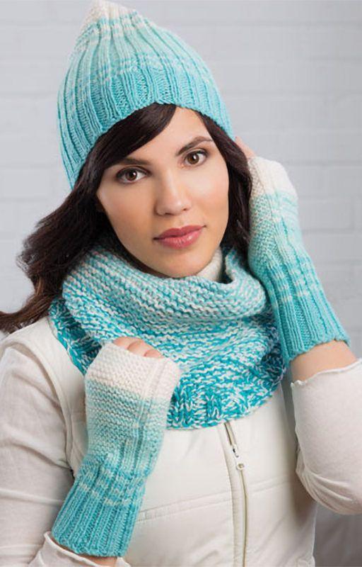 Knitting Pattern for Reversible Rib Stripe Hat, Cowl & Mitts