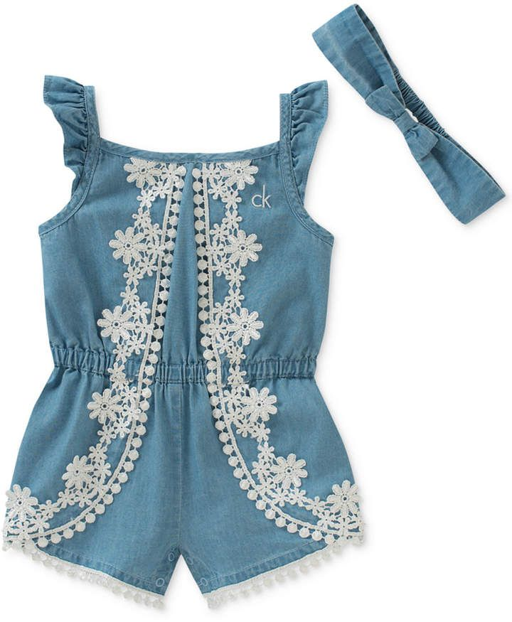 60392634fe7 Calvin Klein Chambray   Lace Romper with Headband