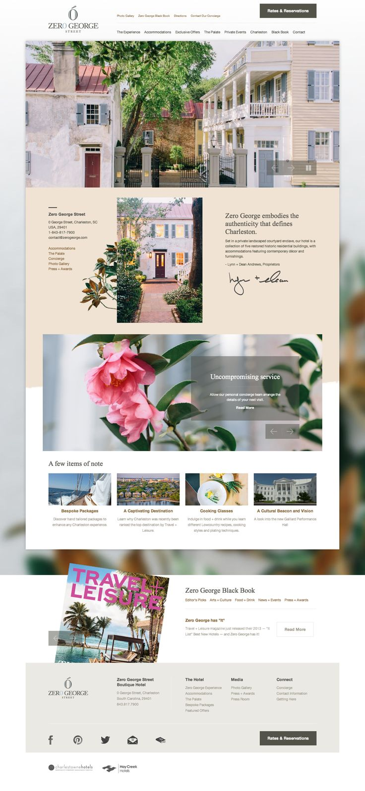 zero george street boutique hotel website homepage charleston sc website design web