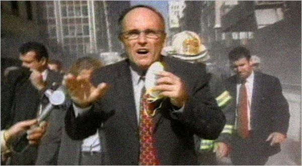 Mayor Rudolph Giuliani at the scene of the World Trade Center collapse on Sept 11, 2001