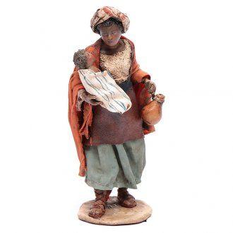 Donna mora con bimbo 13 cm presepe Angela Tripi | vendita online su HOLYART