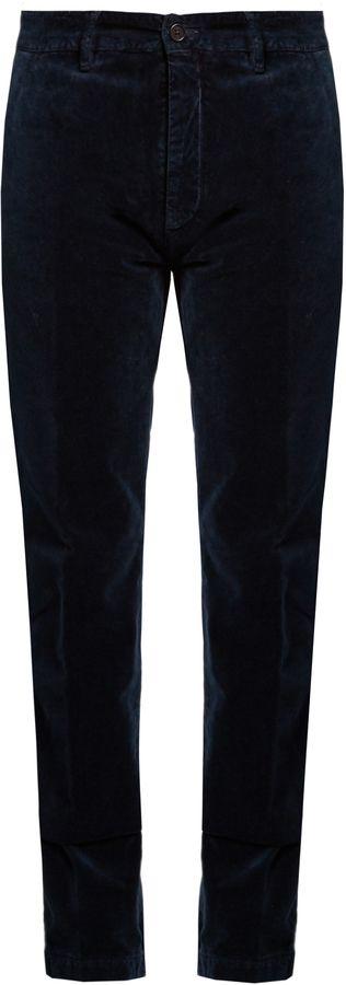 MASSIMO ALBA Mid-rise cotton-velvet trousers