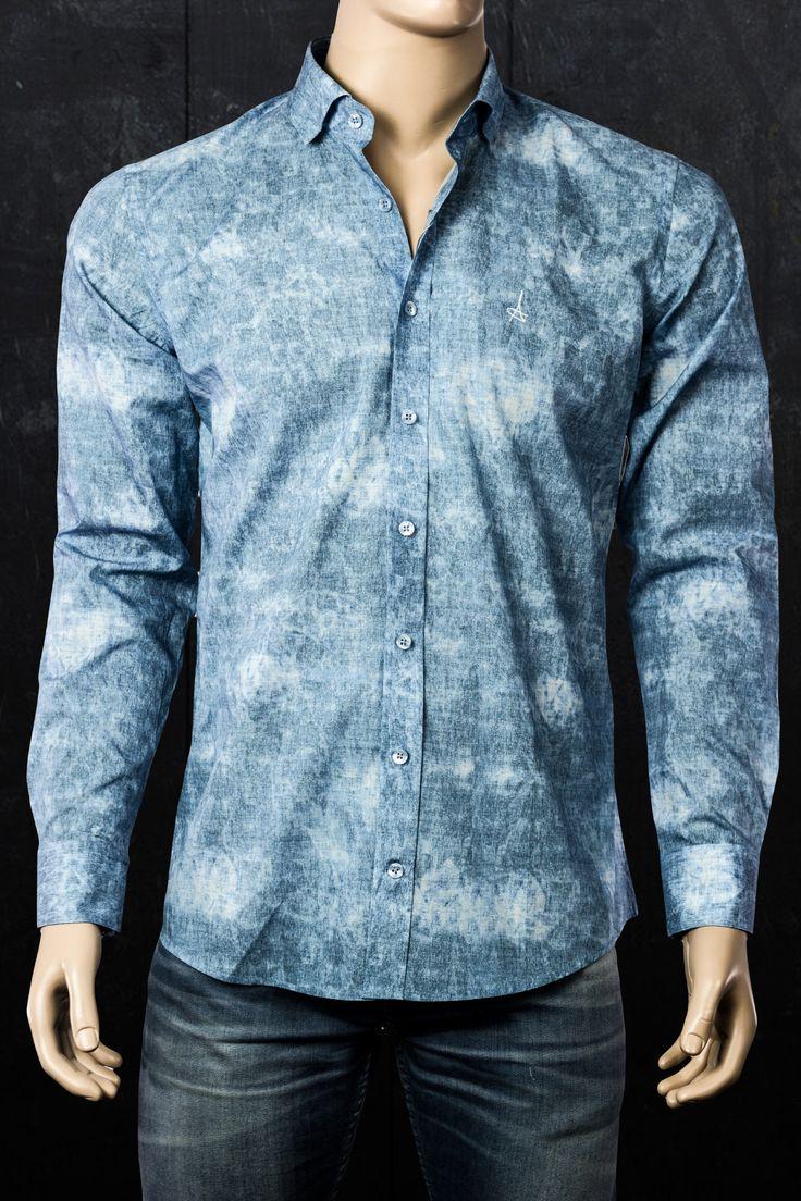 Andriali Ocean Blue Slim Fit Dress Shirt