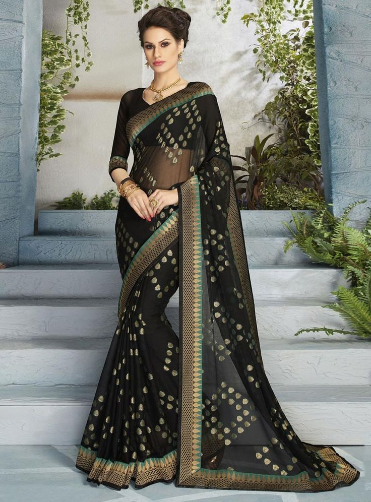Black Chiffon Casual Wear Saree 84726
