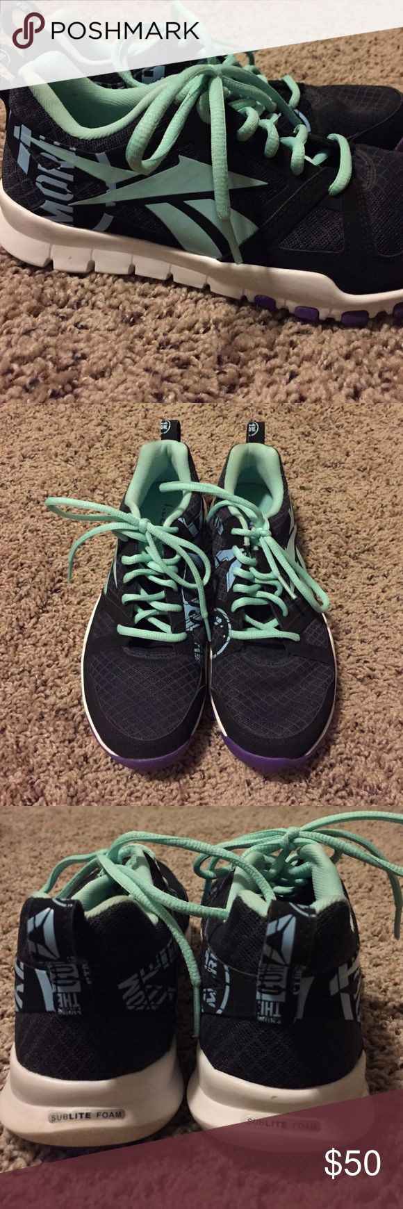 PRICE REDUCED! Reebok crossfit shoes Black and mint green Reebok crossfit sneakers. Only worn a few times. Great condition. Reebok Shoes Athletic Shoes