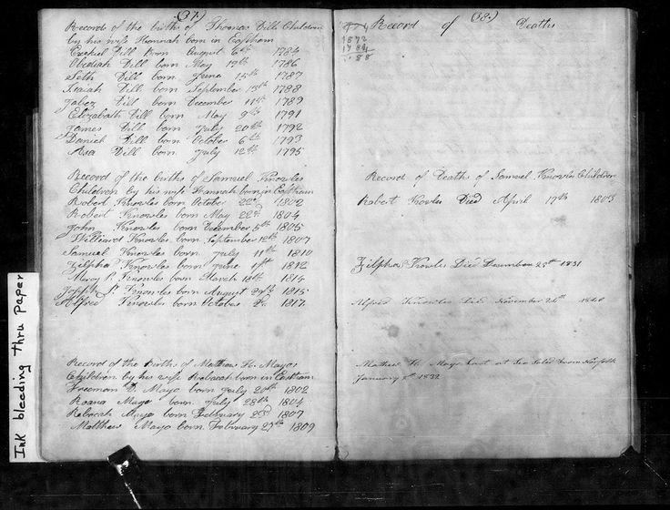 Genea-Musings: Treasure Chest Thursday - Post 239: List of Children of Thomas and Hannah (Horton) Dill in Eastham, Massachusetts Town Records