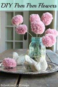 How to Make a Pom Pom Flower Bouquet ... With a Fork! - Eclectically Vintage