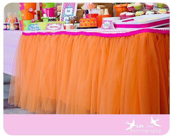 Tulle skirt in light pink for Payton's vanity table